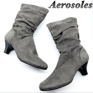 Aerosoles Gray Slouch mini heel Booties 9